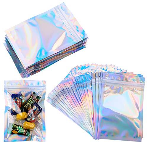 Mylar-Beutel mit Reißverschluss, 100 Stück, durchsichtig, goldfarben, wiederverschließbar, Mylarbeutel, Aluminiumfolie, langlebig, doppelseitig, metallische Folie