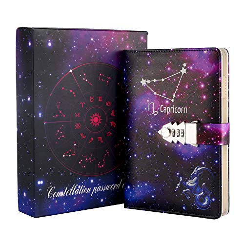 Journals to Write in for Women with Lock,Journal for Women Men Girls Boys Teens Kids, Refillable Password Notebooks, Personal Constellation Starry Sky Journal A5 (8.5 X 5.9 Inch)