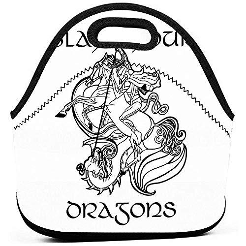 Lunch tas Slay Your Dragons - beker vrouwen werk mannen broodtrommel mode picknick kinderen gedrukt gourmet dode lunch bag herbruikbare school verjaardag unisex bont