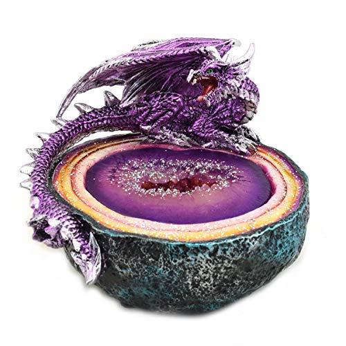 Vidal Regalos Lámpara Luz Ambiental Decorativa Figura Dragón Geoda Resina Decoración Fantasía 13 cm