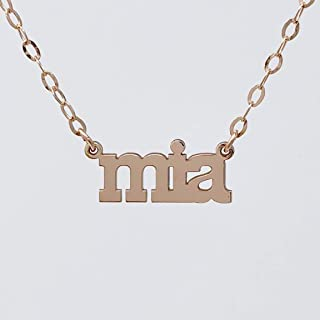 CUSTOM NAMEPLATE Charm Necklace in Gold FIll, Serling Silver and Rose Gold Fill
