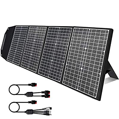 [Upgraded] 120W Portable Solar Panel with Kickstand, Parallel Cable, Foldable Solar Charger Kit with 45W USB-C Quick Charge for Outdoor Generator Power Station Smartphones Laptop Car Boat RV Trailer