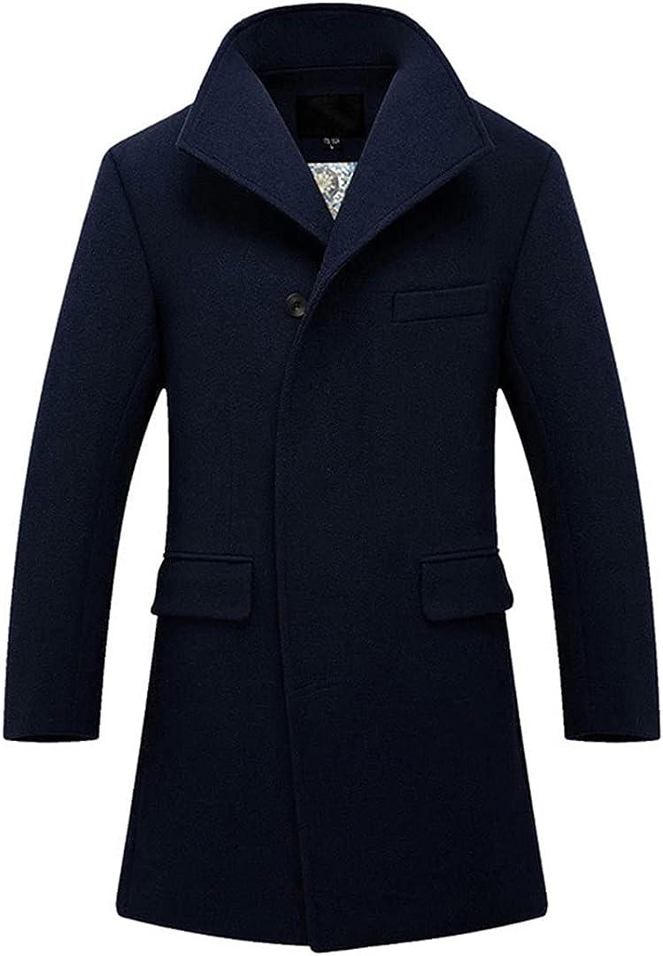 Mens Wool Blend Coats Men's Fashion Business Casual Wool Overcoat Long Section Wool Coat