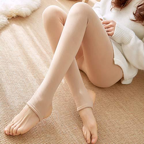 Damen Strumpfhosen,Winter Nylon Strumpfhosen Translucent Pantyhose,Leggings Warme Fleece Strumpfhose,Gefüttert Dicke Schlank Stretchy Thermo Strumpfhosen (Beige, 3XL)