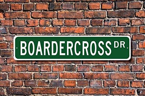 Fhdang Decor Boardercross, Boardercross Geschenk, Boardercross Schild, Snowboard Motocross, Snowboard Race, Custom Street Schild, hochwertiges Metallschild, 10,2 x 45,7 cm