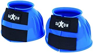 Saxon. Double Tape PVC Ribbed Bell Boots Royal Blue Warmblood