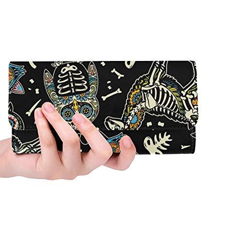 JOCHUAN Einzigartige Benutzerdefinierte Tiere Schädel Nahtlose Muster Tag Tod Frauen Trifold Brieftasche Lange Geldbörse Kreditkarteninhaber Fall Handtasche