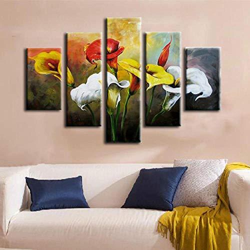 Générique Generic Impression sur Toile 5 Pièces Abstrait Fleur De Lys Huile Peinte À La Maison Art Peinture À l'huile Rouge Blanc Jaune Floral Paysage