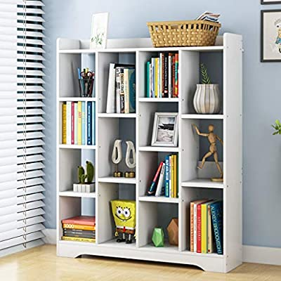 37Inch White Corner Bookcase Book Shelves 5 She...