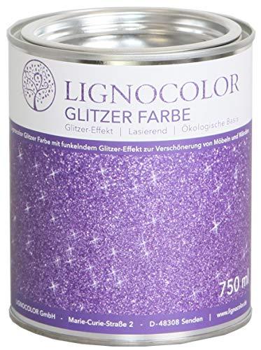 Lignocolor Glitzer Farbe (750 ml, Purple) Möbel und Wände in Glitter Optik, Effektfarbe Glitzereffekt, transparent lasierend – Made in Deutschland…