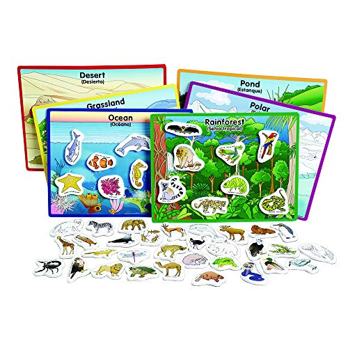 Excellerations 12 X 9 inch Habitats Magnetic Puzzle Boards, 6 Boards, 48 Pieces, Learning Activity, Animals in Their Habitats, Educational Toy Preschool