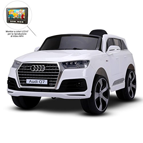 Auto Elettrica Per Bambini Audi Q7 Bianca 12 V, Telecomando 2,4 Ghz, Sedile in Pelle e Impianto Audio Digitale, SD 4Gb - MP3 - Esclusiva Farano Store