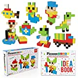 PicassoTiles Kids Pixel Magnetic Puzzle Cube 102 Piece Mix & Match Cubes w/ FREE Idea Book Sensory Toys STEAM Education Learning Building Block Magnets Construction ToySet Stacking Magnet Creative Kit