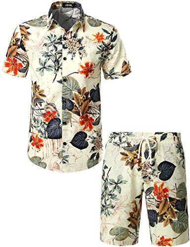 JOGAL Herren Blumen Kurzarm Baumwolle Hawaii Hemd Shorts Set XX-Large Weiß