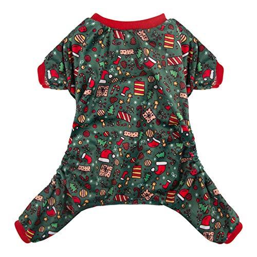 CuteBone Dog Pajamas Christmas Clothes Pjs for Small Dogs Shirts P111S