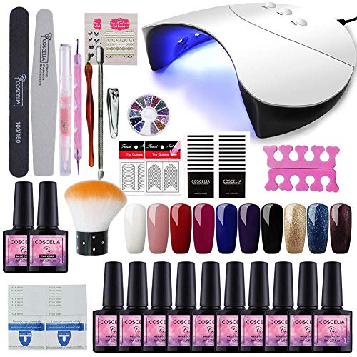 Saint-Acior 36W UV+ LED Nagellampe Starterset 10x Gel Lacken für UV Nageldesign Gelnägel Nagelset uv Gel Lacken Set