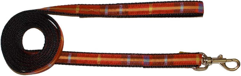 BESSIE AND BARNIE Deluxe Crimson Plaid Nylon Dog Pet Durable Adjustable Leash (Multiple Sizes)