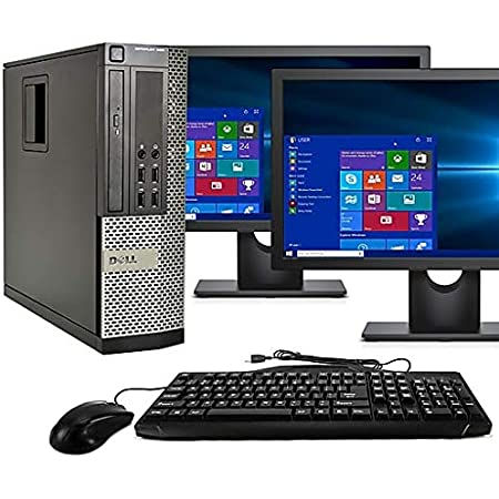 Dell Desktop Computer, Quad Core i5 3.1GHz, 8GB Ram, 500GB, Dual 22inch LCD, DVD, Wi-Fi, Keyboard, Mouse, Bluetooth, Windows 10 Pro Compatible with Dell OptiPlex 790 (Renewed)