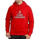 lepni.me Sweatshirt à Capuche Manches Longues Chargement de Glucides Entraînement Physique, Levage de Poids, Humour Sarcastique (Large Rouge Blanc)