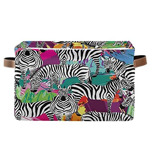 Echobu - Cestino portaoggetti con motivo zebrato colorato con manico, in tela, pieghevole, per camera da letto, casa, ufficio, armadietti, vestiti, giocattoli, 2 pezzi