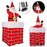 Kesser® Aufblasbarer Weihnachtsmann 178cm Groß aus-dem-Schornstein Kamin LED Beleuchtet Nikolaus Weihnachten Geschenk Deko inkl. Befestigungsmaterial Weihnachtsdekoration Weihnachtsdeko