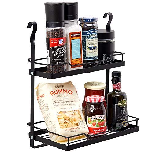 EZOWare Estante Especiero Colgante, Recipiente Soporte Organizador de Cocina, Accessorio para Barra Utensilios Colgador de Cocina - Negro