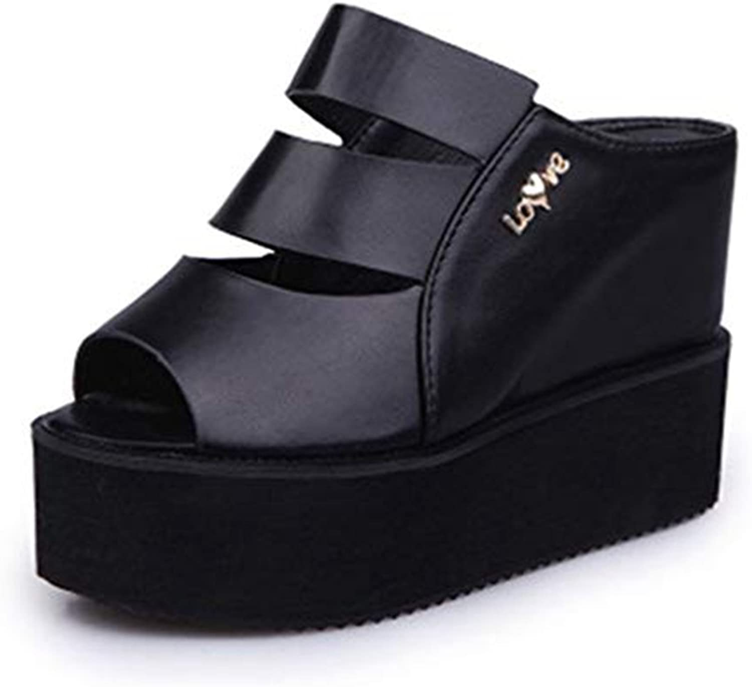 T-JULY Fashion Wedges Leather Hollow Out Peep-Toe Platform Slide Sandals for Women Anti-Slip High Heel Slippers