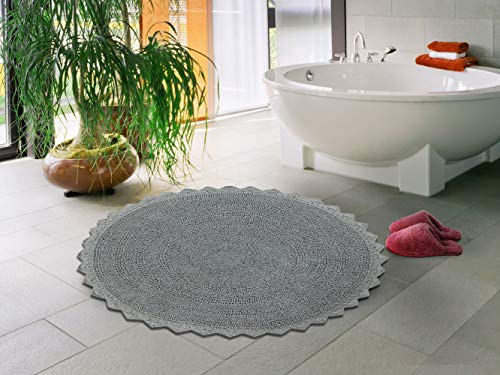 Sheen Decor 100% Cotton Reversible Bath Mat Extra Absorbent | Super Cozy & Extra Soft Cotton Bathroom Rug Floor Mat (24 inches Round, Grey)