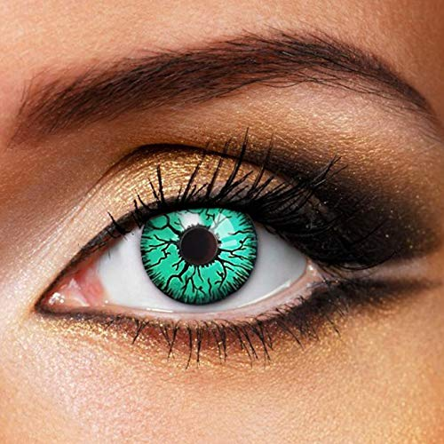 Partylens Farblinsen - Vampire Green - weiche Kontaktlinsen - Jahreslinsen mit Kontaktlinsenbehälter Jahreslinsen, Grün, BC 8.6 mm/DIA 14.5 mm / 0 Dioptrien