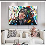 CAPTIVATE HEART Póster y Pintura 60x90cm sin Marco Mono Graffiti Art Street Art Posters e Impresiones Arte de la Pared Animales Imágenes Decoración de la Pared de la habitación de los niños