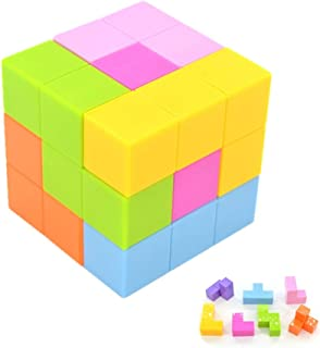 Kuiji Assemble Magnetic Cube, 3D Magnet Tetris Toy for Kids Early Education Teenager Adult Stress Relief, 7 Colors