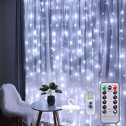 ANJAYLIA LED Curtain String Lights USB Powered 8 Modes Christmas Fairy Lights with Remote Hanging Christmas Lights for Wedding Party Bedroom Wall Decorations, Cold White