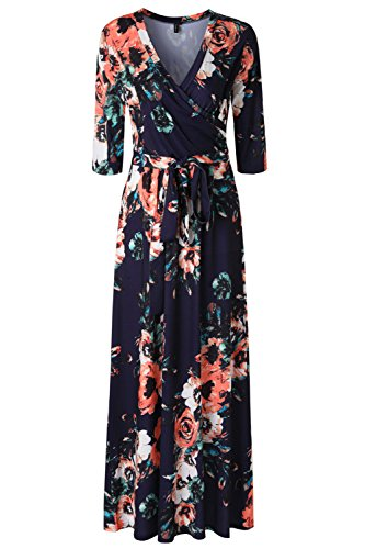 Zattcas Womens 3/4 Sleeve Floral Print Faux Wrap Long Maxi Dress With Belt multi navy Large