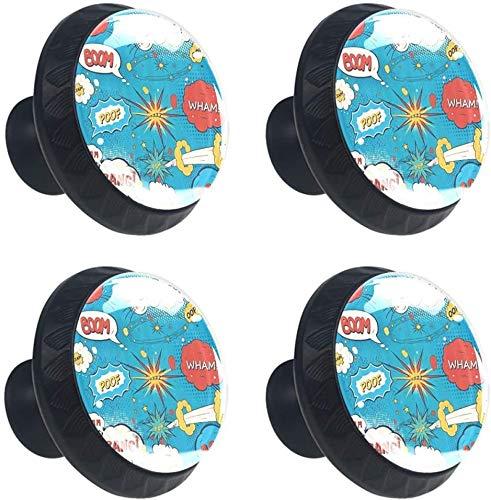 Pop Art Style Comic Speech Bubbles Humor Humor Expresiones Boom Splash Bang Estilo magnífico gabinete de cerámica perillas Tire manijas para Muebles Armario cajón Armario Cocina baño