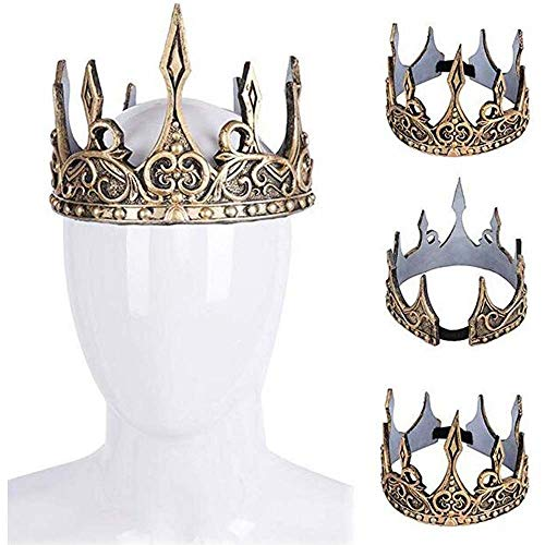 Spritumn King Crown Herren Kostüm Krippe Mittelalterlich Tag des Buches Kostümzubehör Royal Full Round King Crown Erwachsene Crystal Herren Kopfbedeckungen Hut Für Celebration Party