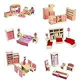FXCO 1 Set Tisch Stuhl 1:12 Miniatur Puppenhaus aus Holz Tisch Möbel Kinder Spielzeug Geschenk für...