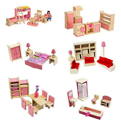 CADANIA Juegos de Cocina, 1 Juego 1:12 Casa de muñecas en Miniatura Muebles de Madera Juego de niños Juguetes Regalo para casa de muñecas Decoración de la Escena de la Vida