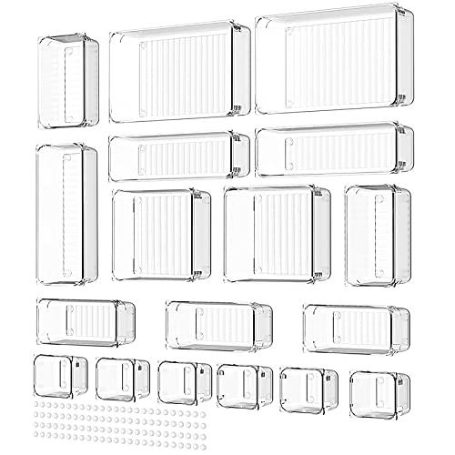 Yosemy 18stk Getrennte Schubladen Ordnungssystem,Antirutsch Schublade Organizer mit 100stk Gummipuffer Transparent Schubladeneinsatz Aufbewahrungsbox für Küche Büro Kommode