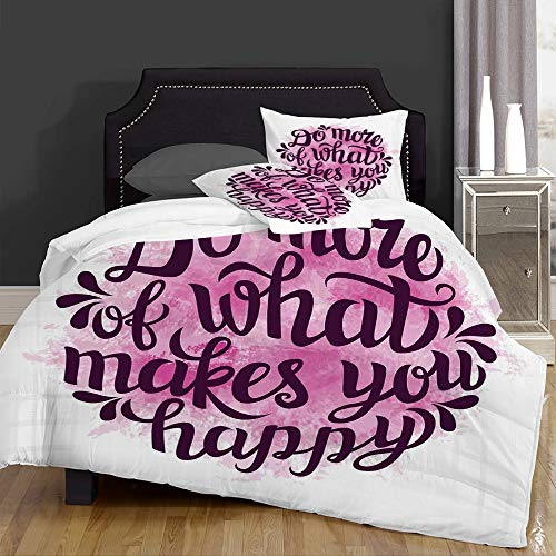 not Edredón- Ropa de Cama,Do More of What Makes You Happy Slogan with Watercolor Brush Strokes Background,Microfibra,edredón 1 edredón 200×200CM y 2 Fundas de Almohada 50×80CM