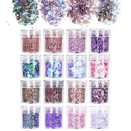URAQT 16 Colores Purpurinas Polvo, Chunky Glitter Flakes Paillette Brillante Decoración para Cara Maquillaje Pelo Arte Corporal Uñas y Mejilla-B