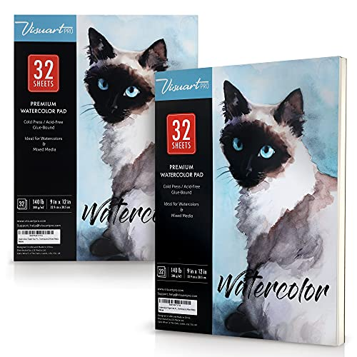 Watercolor Paper 9x12 Inch, 140lb (330gsm), Cold Pressed Premium Pad Ideal for Wet or Dry Techniques, 2 Pk with 32 Sheets Each