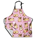 MSGUIDE Cute Pugs Puppies Unisex Cute Adjustable Apron, Waterdrop Resistant Cooking Kitchen Aprons Bib for Women Men Chef
