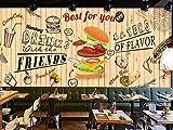 Papel pintado Hamburguesa pintada a mano restaurante de comida rápida snack bar mural cafe bar restaurante etiqueta de la pared poster-150cmx105cm