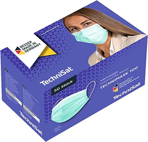 TechniSat TECHNIMASK 100 Alltagsmaske (Mund- und Nasen-Bedeckung, mehrlagige Einweg-Maske aus hochwertigem Vlies / Gesichtsmasken Made in Germany)