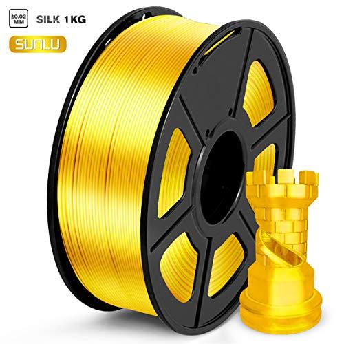 SUNLU PLA Filament 1.75mm, Silk Gold 3D Printer Filament,...