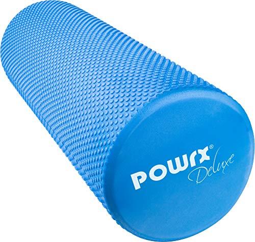 POWRX Yoga-Rolle/Pilates-Rolle/Schaumstoff-Rolle/Foam-Roller/Faszien-Training/Selbstmassagerolle 45 cm oder 90 cm x 15 cm Blau Lila Pink (Blau/45 x 15 cm)