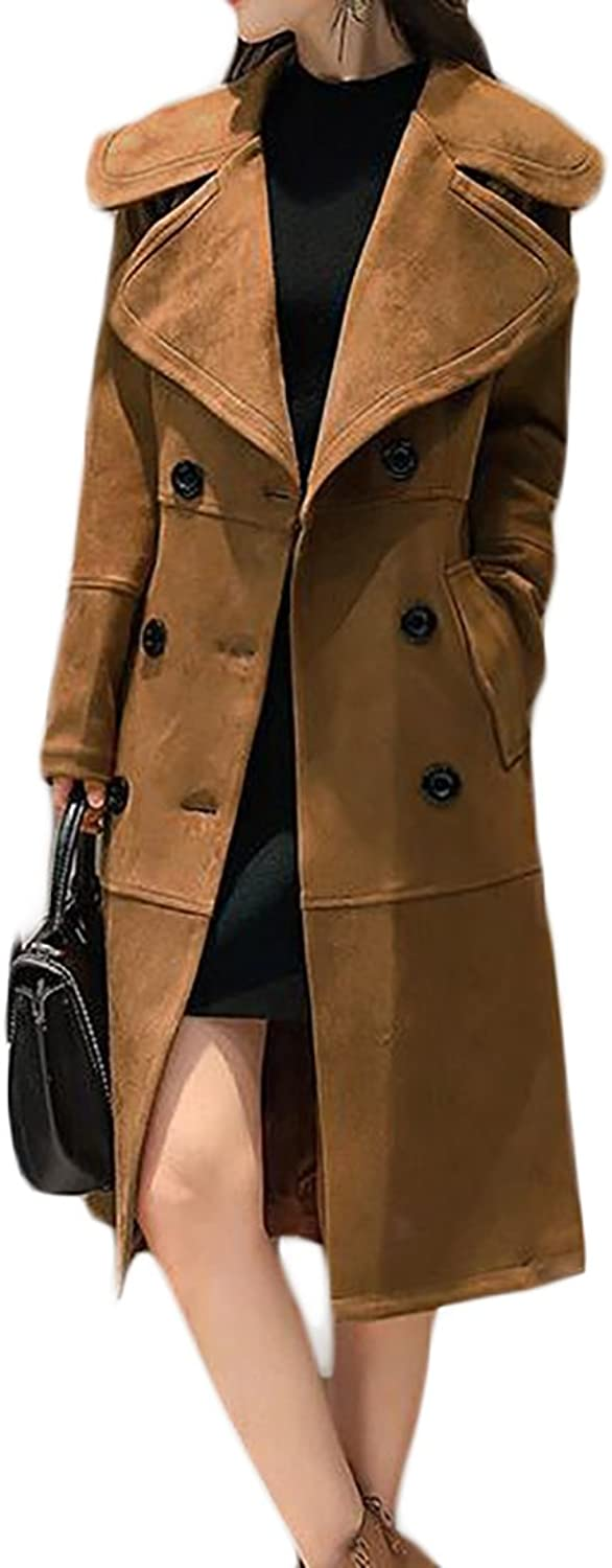 YUNY Womens Double Breasted Suede Peplum Warm Jacket Coat Trenchcoat