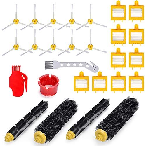 Rebirthcare 25 Stück Ersatzteile zubehör für iRobot Roomba 700 Serie, Ersetzen Bürsten Filter Zubehör Set für iRobot Roomba 700, 720, 750, 760, 765, 770, 772, 772e, 774, 775, 776