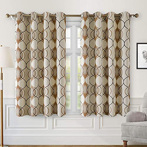 HOMEIDEAS Blackout Curtains for Bedroom 2 Panels, Beige Room Darkening Curtains 52 X 63 Inch, Taupe and Brown Geo Pattern Curtains Thermal Insulated Grommet Top Window Curtains for Living Room/Kitchen