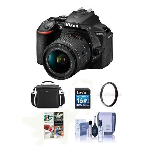 Nikon D5600 DSLR Camera Kit with AF-S DX NIKKOR 18-140mm f/3.5-5.6G ED VR Lens, Black - Bundle with Camera Case, 16GB SDHC Card, 67mm UV Filter, Cleaning Kit, PC Software Package